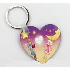 愛心形木質鑰匙圈